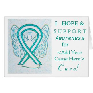 Cervical Cancer Awareness Ribbon Custom Note Cards