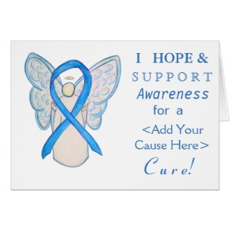 Light Blue Awareness Ribbon Custom Angel Cards