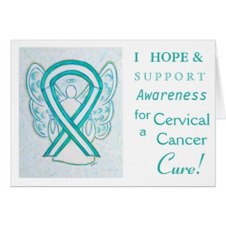 Cervical Cancer Awareness Ribbon Greeting Card
