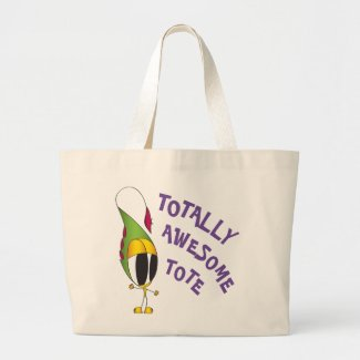 Funny, Colorful, Cartoon Character | Add Your Name Large Tote Bag