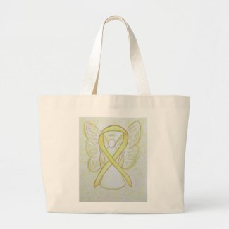 Yellow Awareness Ribbon Angel Custom Tote Bag