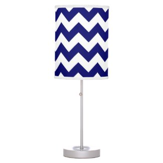 Navy and White Zigzag Desk Lamp
