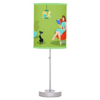 Retro Reading Woman Table Lamp