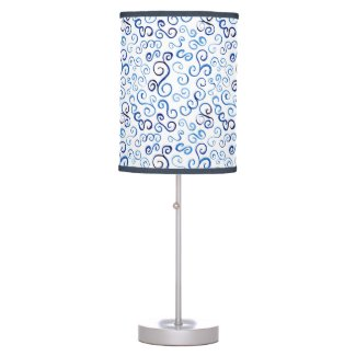 Abstract Light to Dark Blue Curves Lamp Shade