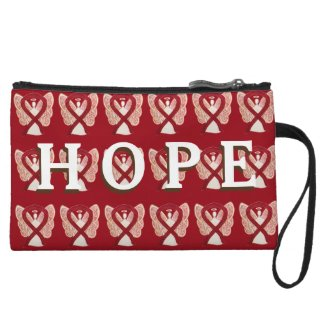 Burgundy Awareness Ribbon Angel Hope Clutch Purse