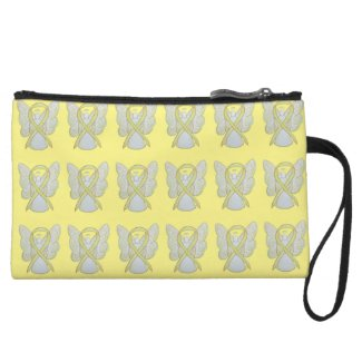 Yellow Awareness Ribbon Angel Custom Clutch Purse