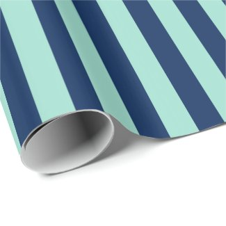 Mint Green and Navy Stripes Wrapping Paper