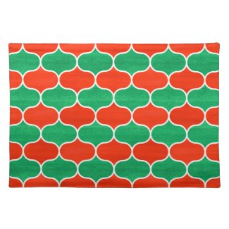 Red and Green Christmas Decor Ogee Pattern Placemat