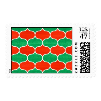 Red Green Christmas Holiday Ogee Pattern Postage