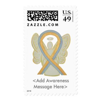 Gold and Gray Awareness Ribbon Angel Postage Stamp