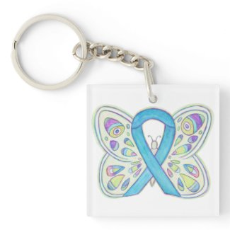Blue Butterfly Awareness Ribbon Custom Keychain