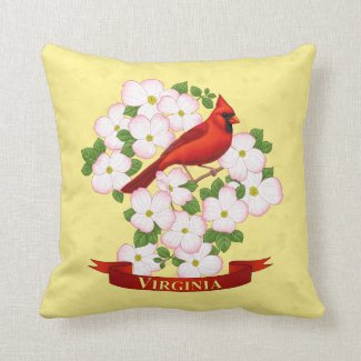 Virginia State Cardinal Bird and Dogwood Flower Pillow