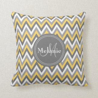 Monogrammed Yellow & Grey Chevron Pattern Throw Pillow