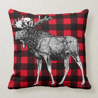 Cabin Rustic Moose Red Buffalo Plaid Throw Pillow