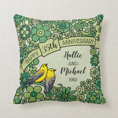 Personalized 35th Anniversary, Jade Floral Birds Throw Pillow