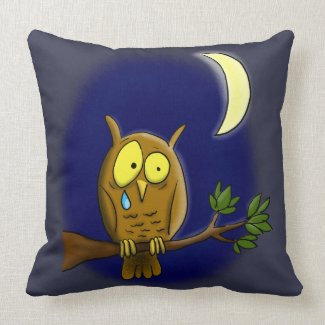 Sad owl cartoon pillow. throw pillow