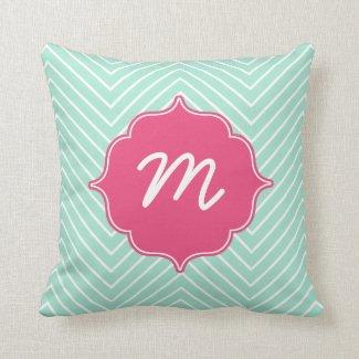 Pink Monogram Mint Thin Chevron Quatrefoil Throw Pillow
