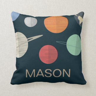 Navy Blue Boys Room Space Planets Personalized Throw Pillow