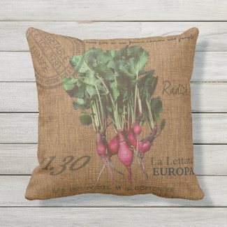Cottage decor / Radish Outdoor Pillow