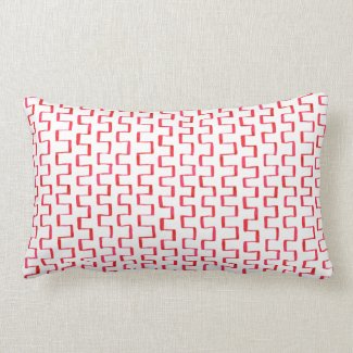 Painted Red Abstract Geometric Pattern Pillow
