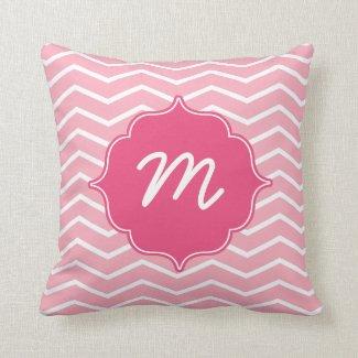 Pink Monogram Wide Chevron Quatrefoil Throw Pillow