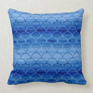 Lovely Painted Light and Dark Blue Scale Pattern Throw Pillow