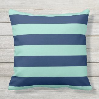 Outdoor Seafoam Green and Navy Stripes Outdoor Pillow