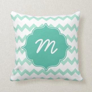 Mint Monogram Thick Chevron Quatrefoil Throw Pillow