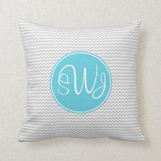 Gray and Blue Chevron Throw Pillow