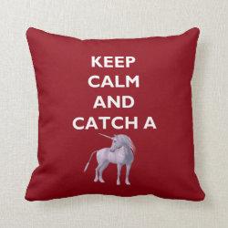 Keep Calm Catch a Unicorn White Font, Retro, ZKoA Throw Pillow