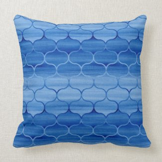 Painted Light and Dark Blue Ogee Pattern Pillow