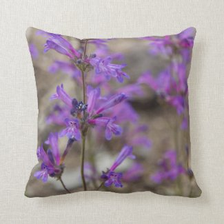 Purple Penstemon Flowers Pillow