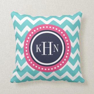Turquoise Pink and Navy Chevron Monogram Throw Pillow