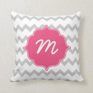 Pink Monogram Grey Thick Chevron Quatrefoil Throw Pillow