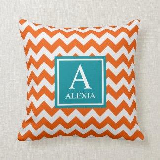 Orange and Teal Monogram Chevron Print Throw Pillow