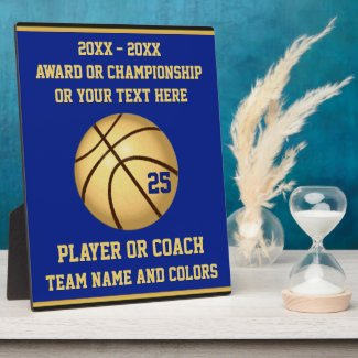 Blue and Gold Basketball Award for Players, Coach Plaque