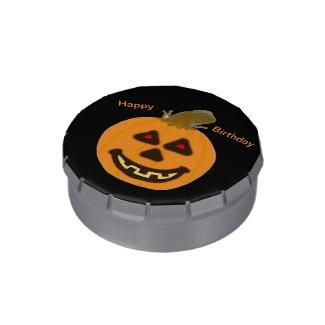 Halloween Smiling Pumpkin Candy Tin
