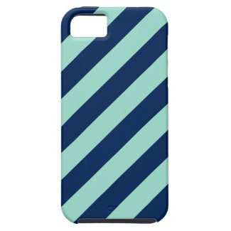 Angled Mint Green and Dark Blue Lines iPhone SE/5/5s Case