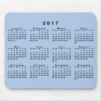 Black 2017 Calendar on Customizable Light Blue Mouse Pad