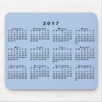 Black 2017 Calendar on Customizable Light Blue Mouse Pad