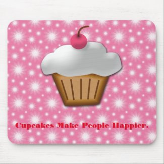 Cutout Cupcake With Pink Cherry on Top Mouse Pad
