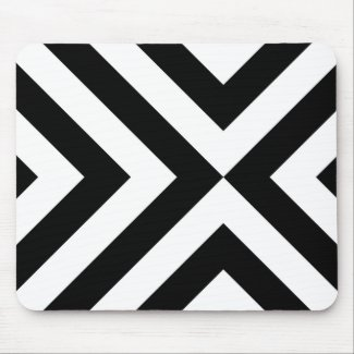 Black and White Chevrons Mouse Pad