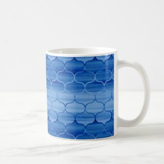 Painted Blue Geometric Ogee Pattern Coffee Mug