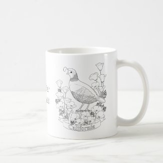California State Bird and Flower Coloring Page Coffee Mug