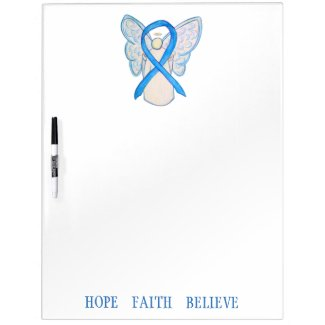 Light Blue Awareness Ribbon Custom Dry Erase Board