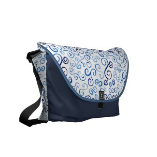 Painted Blue Watercolor Curves Courier Bag