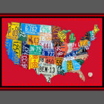 License Plate Map Of The Usa Wrapped Canvas Red Zazzle