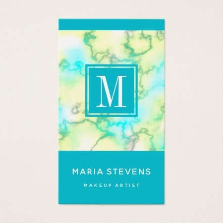Turquoise, Teal, Aqua Blue and White Marble Custom Monogram Makeup Artist Cosmetologist Business Cards Template