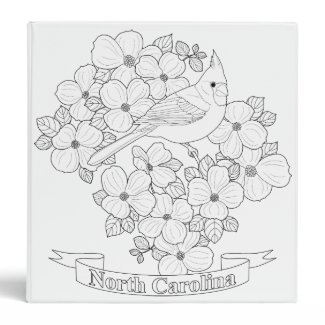North Carolina State Bird and Flower Coloring Page 3 Ring Binder