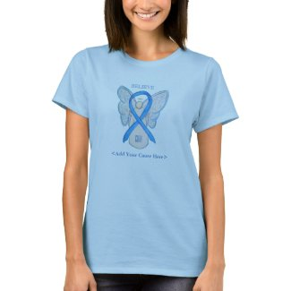 Light Blue Awareness Ribbon Angel Custom Shirts